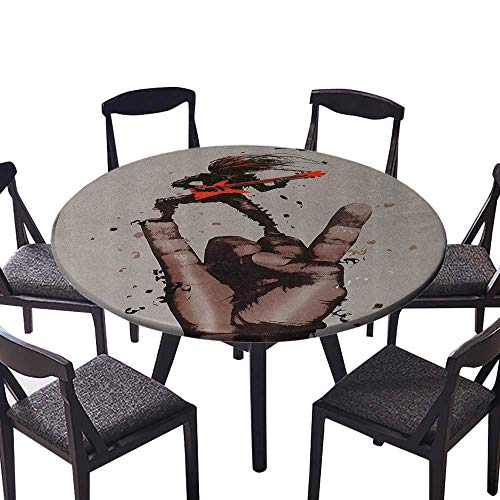 Bass Deluxe Maple (Luxury Round Table Cloth for Home use Musician Bass Guitarist with Rock Roll Gesture Heavy Metal Perfect for Indoor, Outdoor 55