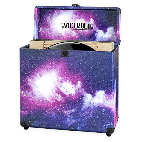 Victrola Vintage Vinyl Record Storage Carrying Case for 30+ Records (Dust/Scratch Free) (Galaxy Edition)