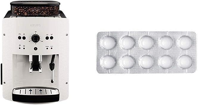 Krups EA810570 Cafetera automática 15 bares de presión, 1450 V, 1.6 L, acero inoxidable + Espresseria Automatic Pastillas limpiadoras para maquinas de café, Blanco: Amazon.es: Hogar