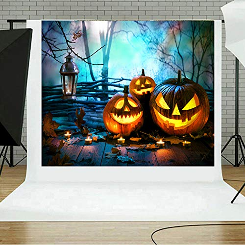 MOKO-PP Halloween Backdrops Pumpkin Vinyl 5x3FT Lantern Background Photography Studio E(E)