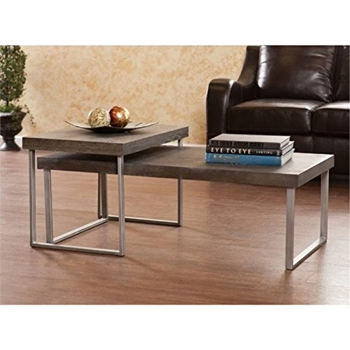 BOWERY HILL 2 Piece Nested Coffee Table Set in Burnt Oak
