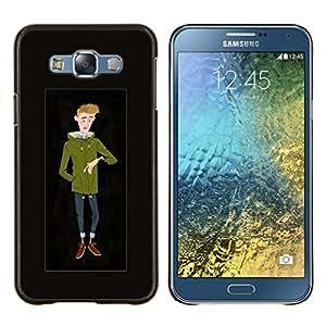 Dragon Case - FOR Samsung Galaxy E7 E7000 - cool dude man hipster winter time sketch - Caja protectora de pl??stico duro de la cubierta Dise?¡Ào Slim Fit