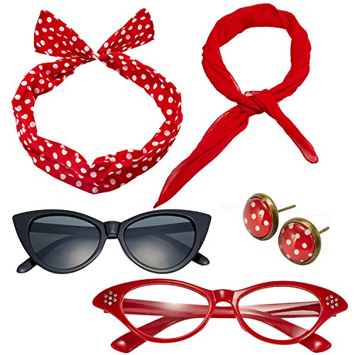 (50's Costume Accessories Set Chiffon Scarf Cat Eye Glasses Bandana Tie Headband and Earrings (OneSize, Red))