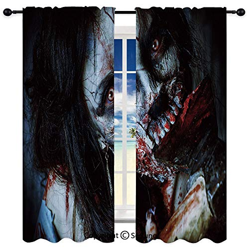 Tailored Home Fashions Indoor/Outdoor Sheer Panel Window Curtain,Scary Dead Woman with Bloody Axe Evil Fantasy Gothic Mystery Halloween Picture 95