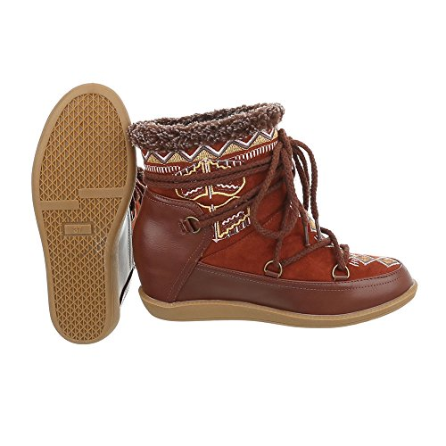 Women's Boots Wedge Heel Wedge Ankle Boots at Ital-Design Brown Orange wjtONNAv