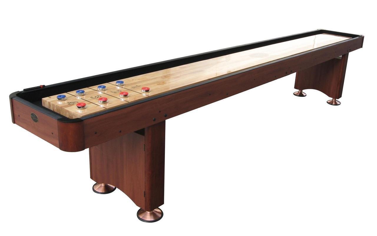 Playcraft Woodbridge 12' Cherry Shuffleboard with Black Carpet