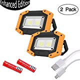 Aoteng Star COB LED Work Light 30W 1500LM Outdoor Waterproof USB Rechargeable Power Bank Floodlight for Camping,Hiking, Car Repairing, Workshop, Job Site,SOS Emergency-2 Pack(Yellow)