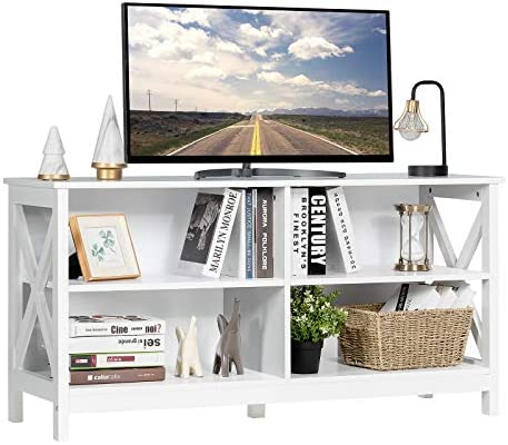 Tangkula Farmhouse Wooden Universal TV Stand