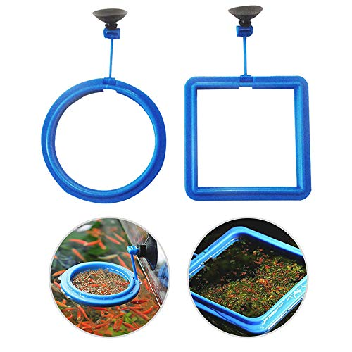 (EDOTFISH 2PCS/Set Fish Feeding Ring Round and Square Floating Food Feeder Circle with Suction Cup (Pets Circle))