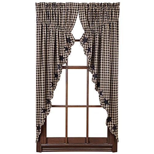 5-Point Stars Appliqued Scalloped Prairie Curtain in