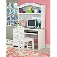 Beatrice Youth Desk & Hutch in White Finish