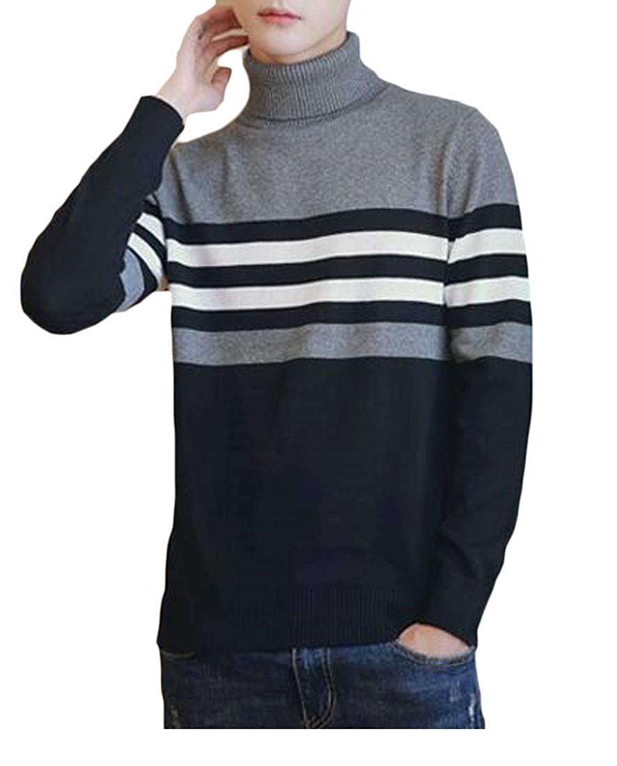 Sweatwater Men Turtleneck Stretchy Slim Knit Pullover Jumper Sweaters