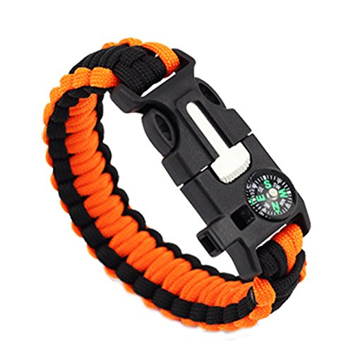 Multifunctional 5in1 Paracord Bracelet, Ultimate Outdoor Survival Kits With Compass Flint Fire Starter Scraper Whistle Fishing Gear Flint for Hiking Camping Emergency (Orange)