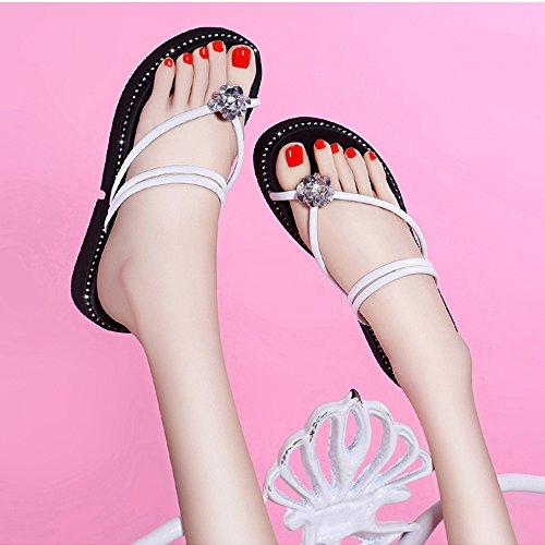 Clip Moda ZHIRONG CM Rhinestone Blanco Zapatos las Romanos Fondo Impermeable Grueso Plataforma de de Sandalias Toe de Verano Zapatillas Blanco Zapatos Zapatos Color mujeres CM4 Playa 10 Tamaño de de Hrrqv4X