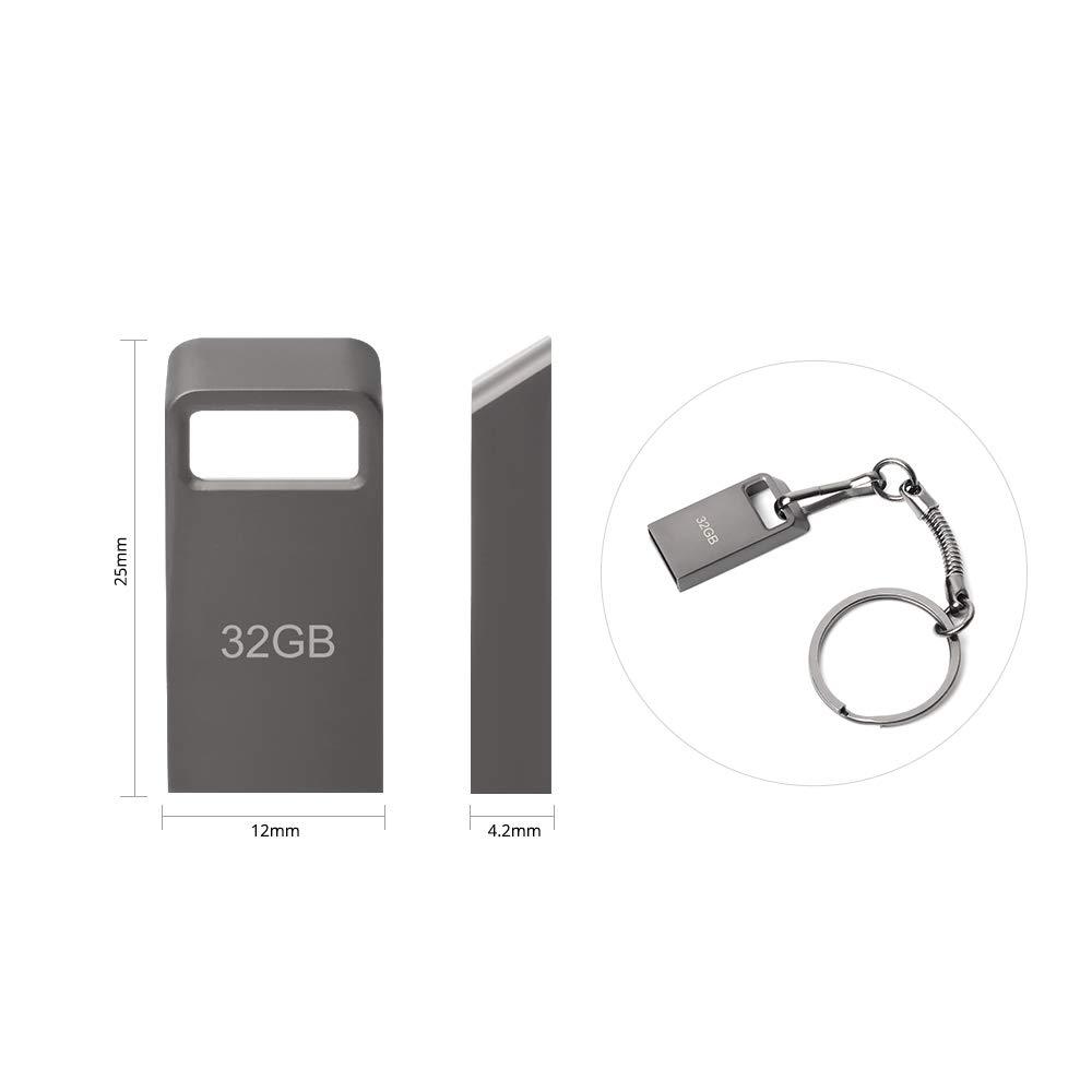 Gris Tabletas Almacenamiento de Datos Externo Memoria USB 64 GB Mini Pen Drive 64GB Memoria Flash Metal USB 64 GB con Llavero para Computadoras