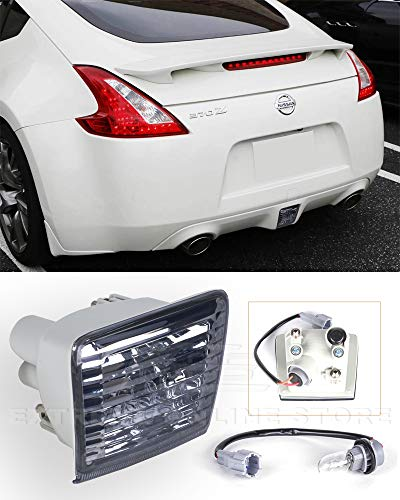 Extreme Online Store Replacement for 2009-Present Nissan 370Z Z34 Fairlady | JDM Crystal Smoke Lens Rear Driving Fog Light Reverse Back Up Tail Lamp