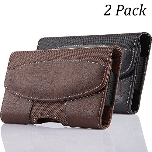 2 Pack iNNEXT iPhone 8 Plus Pouch Case, Premium Horizontal Leather Case Pouch Holster with Magnetic Closure with Belt Clip Holster and Belt Loops for iPhone 7 Plus / 6S Plus 5.5 inch (Brown/Black) ()