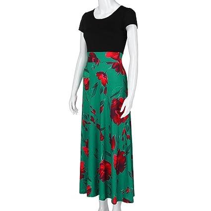Mujer Vestido largo Bohemian estampaod,Sonnena Vestido de ffloral Imprimir volante fruncido traje de fiesta