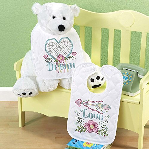 Baby by Herrschners Pre-Quilted Dream Big Baby Bibs Stamped Cross-Stitch (Stamped Cross Stitch Quilted Bibs)