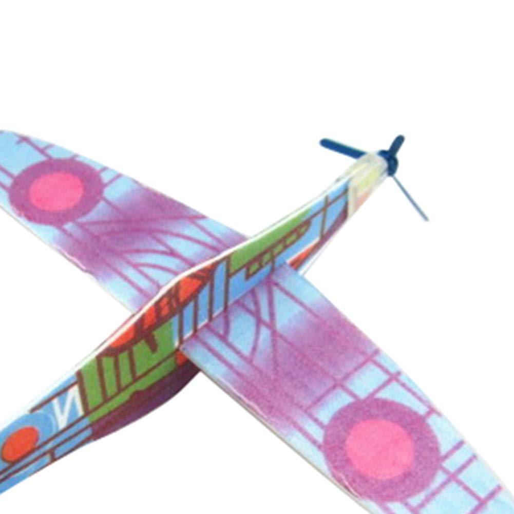 bromrefulgenc Flying Glider Plane Toy,DIY Hand Throw Flying Glider Plane Plastic Aeroplane Kids Children Toy Gift Random Color