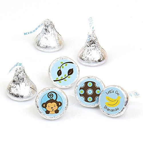 Monkey Boy - Party Round Candy Sticker Favors – Labels Fit Hershey's Kisses (1 sheet of 108)