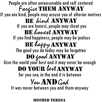 Amazon mother teresa quotes inspirational wall decals vinyl mother teresa quotes inspirational wall decals vinyl wall art a wall decal inspiring quotes thecheapjerseys Choice Image