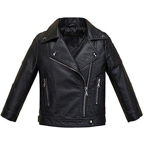 LJYH Boys Girls Fashion PU Leather Jacket Kids Zipper Coat Black