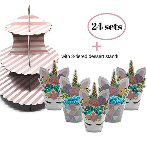 Coco & Ella Unicorn Party Cupcake Toppers Wrappers - Birthday Baby Shower Party Cake Decorations 24 Pcs Set + 3 Tier Cupcake Dessert Tower Stand for $<!--$13.99-->