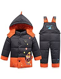 ISNOWKING Little Boys' Snowsuits with Hooded Jacket and Suspenders Pants