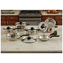 Maxam® 18pc Stainless Steel Cookware Set with Steam Control™ Knobs Fast Ship