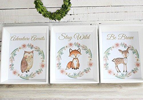 Woodland Nursery Prints, Girl Nursery Art, Woodland Animal Decor, Set of 3, Coral and Gold Nursery Decor