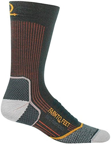 Farm to Feet Men's Damascus Lightweight Crew Socks, Green Gables, (Gables One Light)