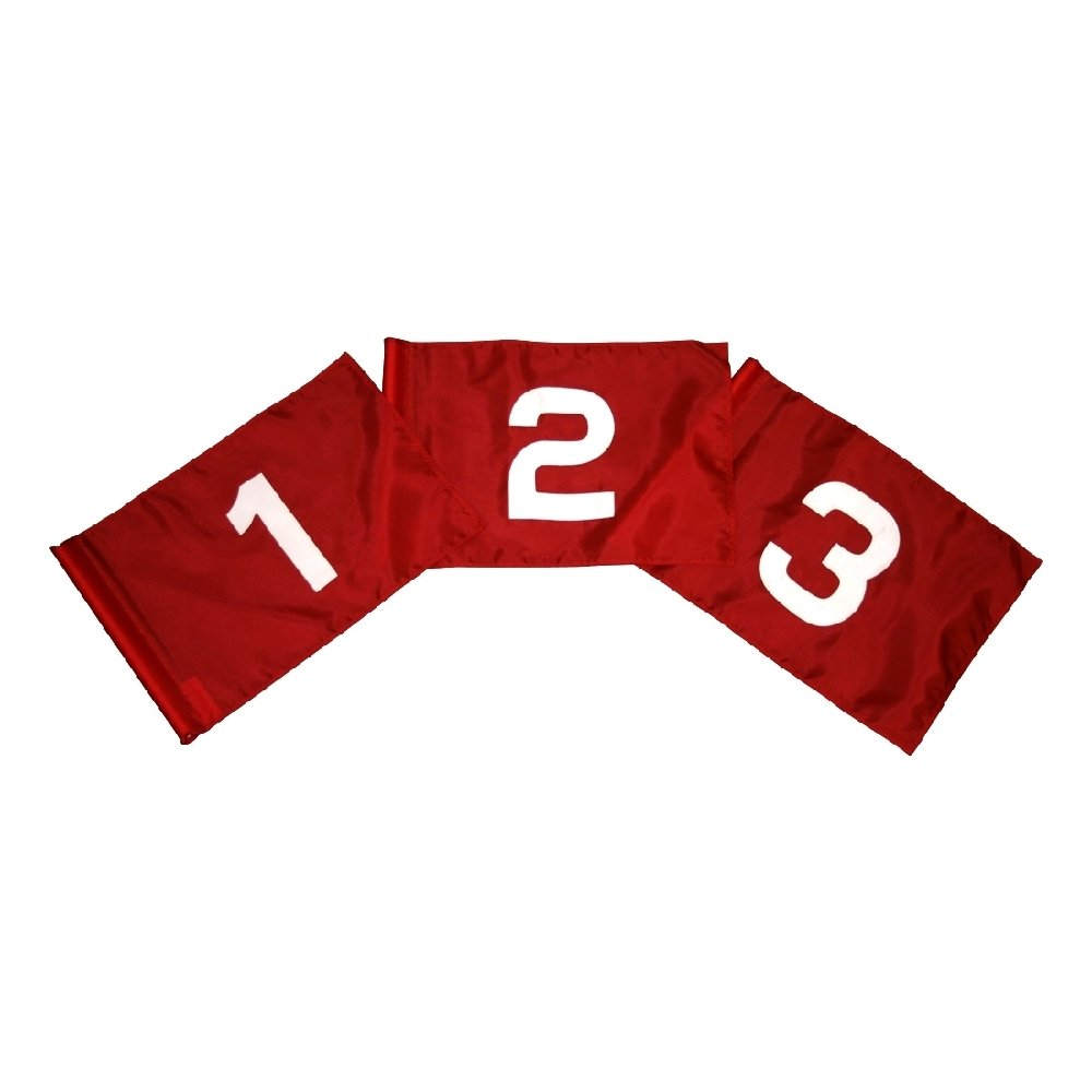 Golf Flag Set - Red and White Flag #'s 1-9 14 in. x 20 in. by Flags Unlimited