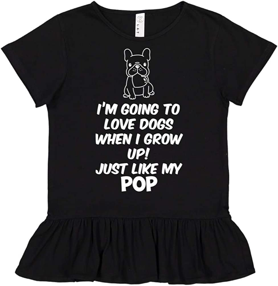Toddler//Kids Ruffle T-Shirt Im Going to Love Dogs When I Grow Up Just Like My Pop