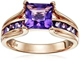 Sterling Silver with Pink Gold Plating Princess Amethyst Ring, Size 7