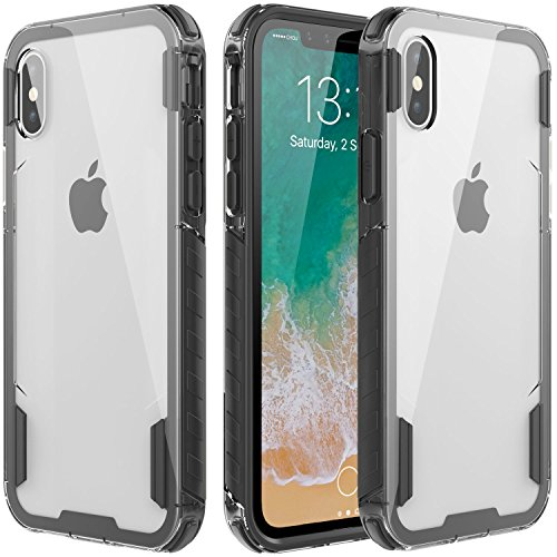 zisure iPhone X Case, XS Cases [Rock Sugar] Heavy Duty Crystal Hard Clear Case Durable Shatterproof Sports Phone Cover for iPhone X, iPhone Xs - 5.8 inch Black