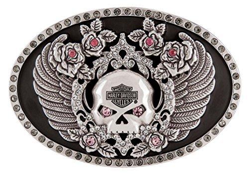 Harley-Davidson Women's Rhinestone Rockin' Roses Skull Belt Buckle HDWBU11340 (Rose Skull Rhinestone)