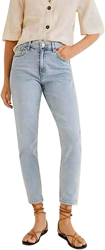 Lancy/_Luna Ladies Straight Slim Jeans High Waist Stretch Denim Ankle-Length Pants Casual Trousers Stylish Light Blue Regular Fit