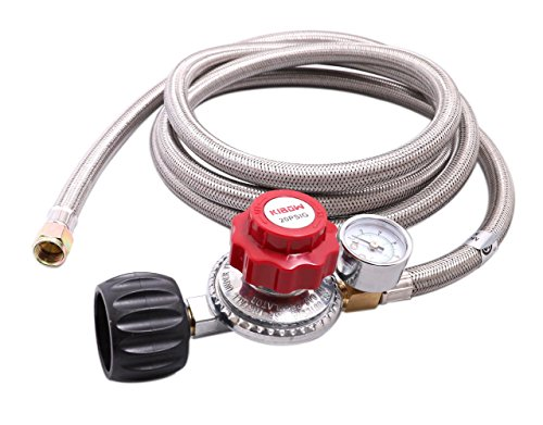 KIBOW 0~20PSI High Pressure Adjustable Propane Regulator w/8FT SS Braided Hose-Type1 (QCC1) and 3/8 Female Flare Swivel Fitting - WITH GAUGE 20 Psi Propane Regulator