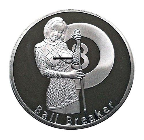 Silver Round Pool Cover (Ball Breaker Rack'em & Smack'em Good Luck Challenge Coin - Gift for Men by Thompson Emporium)