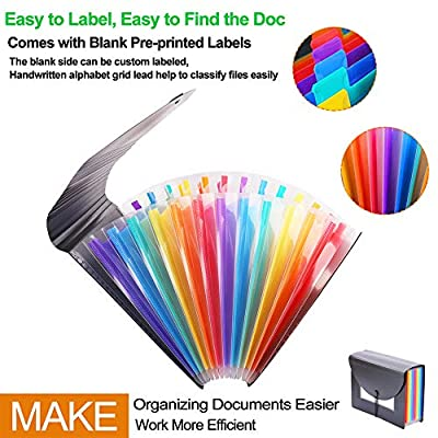 Accordion File Organizer, Aifoaliy Expanding File Folder, Portable A4 Letter Size Document Holder with Lid & Divider Tabs for Travel, Office, Home to Keep Bills, Invoice, Receipt