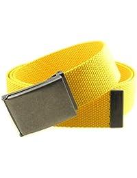 "Canvas Web Belt Flip-Top Antique Silver Buckle/Tip Solid Color 50"" Long 1.5"" Wide"
