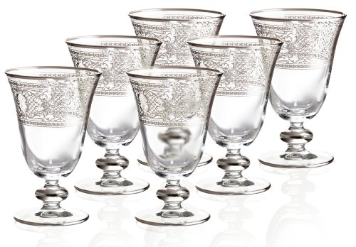 Rose's Glassware Fine Sterling Silver Hand Painted Fine Italian 8 Ounce Glasses - Set of 6 by Rose's Glassware