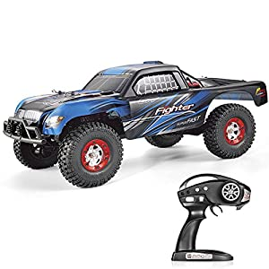 Tecesy 25+MPH Off-Road Rock Crawler Electric 2.4G Radio Control RC Desert Buggy 4WD Short Course Truck (Blue)