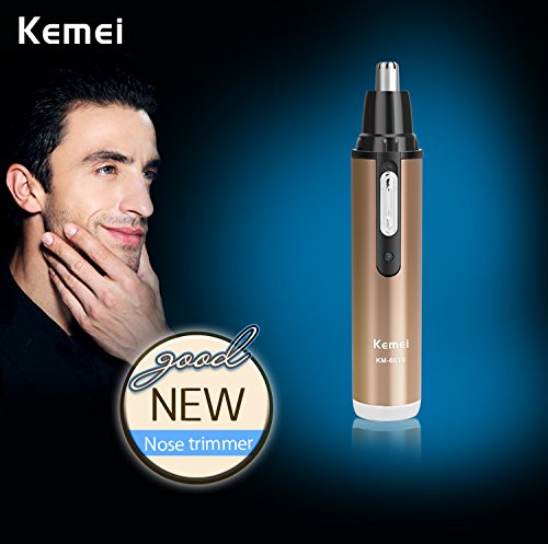 Kemei KM-6619 2-in-1 Electric Shaver with Nose & Ear Hair Trimmer Rechargeable Male Female Shaving Cut Nose Hair Scissors Washable Champagne