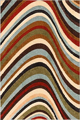 Shell Stone Waves Multi Natural Modern Geometric Lines 5' x 7' Area Rug Soft Shed Free Easy to Clean Stain -