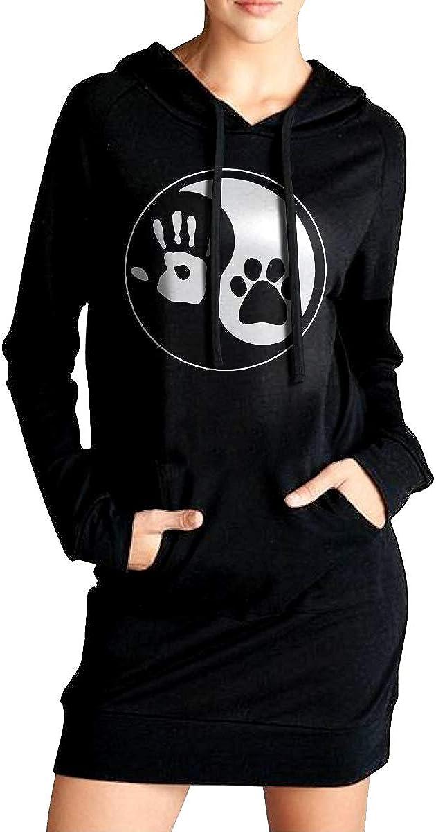 Ying Yang Hand and Dog Paw Sweater with Kanga Pocket Womens Pullover Sweatshirt Long Hoodies Dress