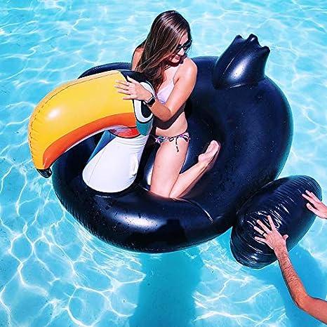 Sea Party Los Juguetes Inflables del Agua Piscina Juguetes Tucán Flotador De La Piscina Colchón Tomar El Sol Mat Aire Natación Anillo Beach black-150 * 120 * 40cm