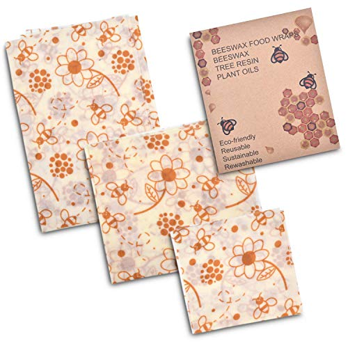 Beeswax Wraps Food Storage Sheets-Biodegradable/Eco-Friendly 100% Cotton Covered with Natures Goodness-Non-Plastic Reusable Washable Kitchenware-3 Pack Set Small/Medium/Large Dish Sizes-Brown Beez