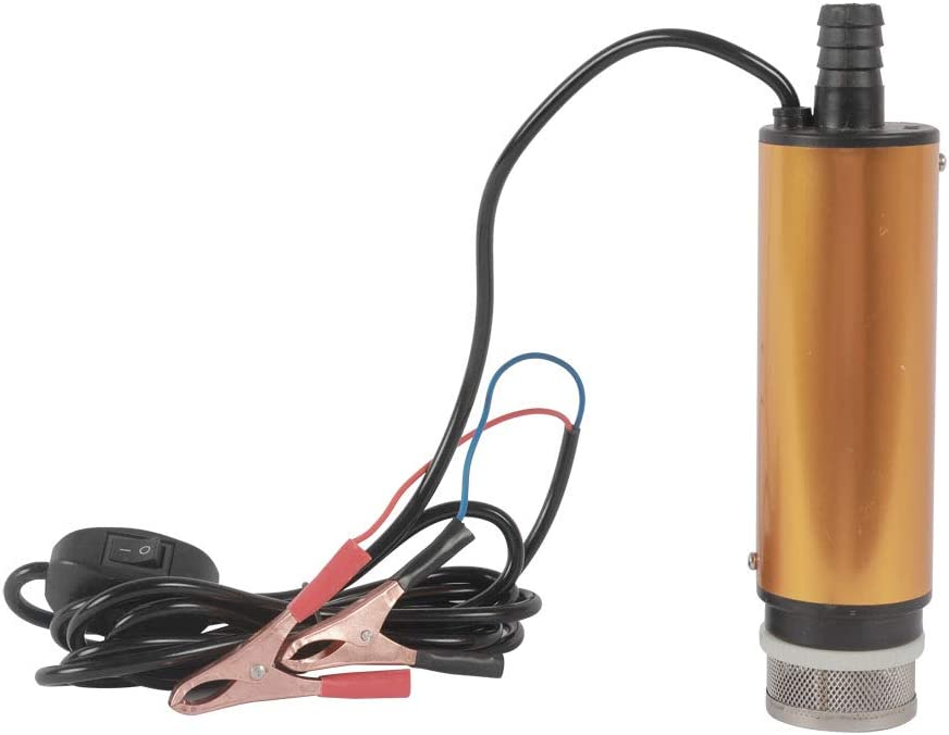 NUZAMAS DC 12V Submersible Oil Pump 51mm with 2m hose Water Diesel Transfer Fluid Engine Oil Stainless Steel for Car Truck Caravan Marine Boat Outdoor 4X4 Farm tools